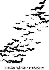 Dangerous black bats group isolated on white vector Halloween background. Flying fox night creatures illustration. Silhouettes of flying bats traditional Halloween symbols on white.