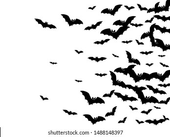 Dangerous black bats group isolated on white vector Halloween background. Rearmouse night creatures illustration. Silhouettes of flying bats traditional Halloween symbols on white.