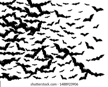Dangerous black bats group isolated on white vector Halloween background. Flittermouse night creatures illustration. Silhouettes of flying bats vampire Halloween symbols on white.