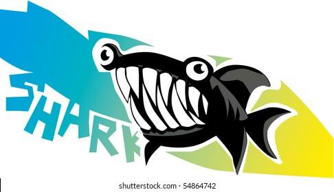dangerous cartoon shark