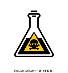 Dangerous chemicals in test tubes and flasks vector icons.
