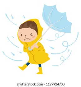 Dangerous condition with rain and wind blowing.Illustration of a boy walking with an umbrella.