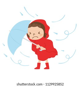 Dangerous condition with rain and wind blowing.Illustration of a girl walking with an umbrella.