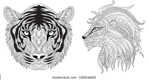Dangerous creatures set including tiger and lion, zentangle art for printed tee,design element and coloring book for anti stress.Vector illustration