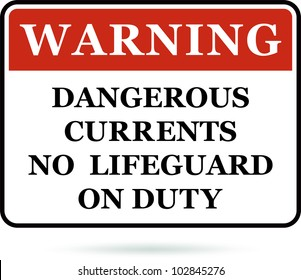 Dangerous currents warning sign. Vector