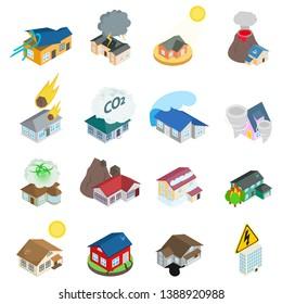 Dangerous environment icons set. Isometric set of 16 dangerous environment vector icons for web isolated on white background