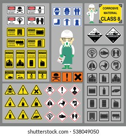 Dangerous Goods and Hazardous Materials - Set of Signs and Symbols of Corrosive Material Class with cute safety cartoon character and new symbol design