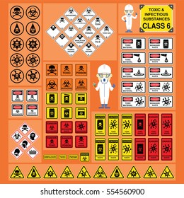 Dangerous Goods and Hazardous Materials - Set of Signs and Symbols of Toxic and Infectious Substances Class with cute safety cartoon character and new symbol design
