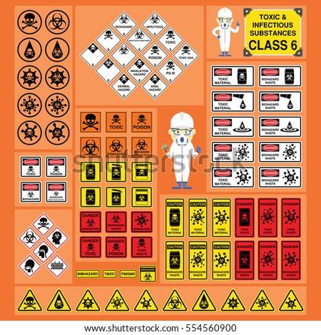 Dangerous Goods Hazardous Materials Set Signs Stock Vector Royalty
