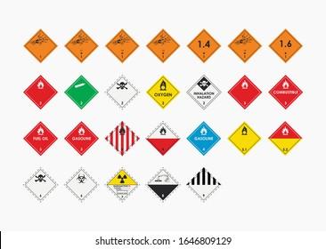 Dangerous goods icons set isolated on gray background. Marking of goods during transportation. Nine hazard classes. Vector illustration.