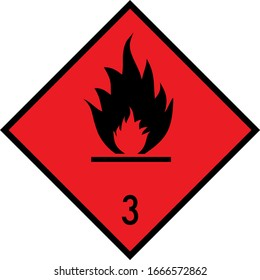 Dangerous goods placards class 3. Flammable liquids sign. Red on black.