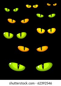 A lot of dangerous green and yellow wild cat eyes in darkness