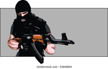 Dangerous guy with AK-47 rifle and balaclava