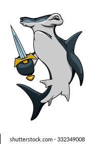 Dangerous hammerhead shark pirate cartoon character with sharp sword, for marine mascot or adventure theme