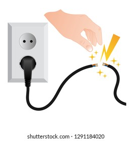 Dangerous high voltage. Dual electrical socket Type C with power cable damaged with hand's man, causing a short circuit.
