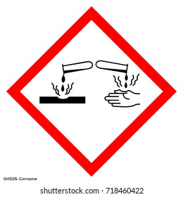 Dangerous icon of hazardous warning sign. Official warning sign of Global healthy sign of corrosive