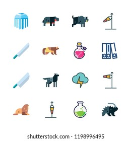 dangerous icon set. vector set about light bolt, hippopotamus, porcupine and blinder icons set.