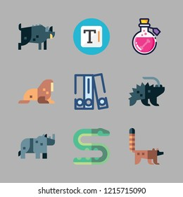dangerous icon set. vector set about walrus, snake, blinder and poison icons set.