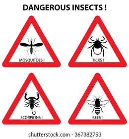 Dangerous insects warning signs set: ticks, mosquitoes, bees, scorpions. Vector illustration. Bugs and parasite icons  in red triangle. Stop hazards symbols.