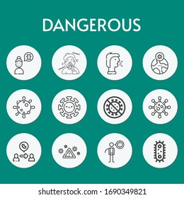 dangerous line icon set on theme coronovirus. Included icons as virus, cough, pandemia, virus transmission, virus warning and more
