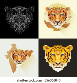 Dangerous mammal animal. Vector set tigers in polygonal style. Predatory animal. Tiger face for tattoo, wallpaper, poster and printing on t-shirts. Tigers low poly image. Abstract cat mammal.