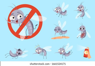 Dangerous mosquito. Bugs and warning flyings animals mosquito aid vector cartoon set