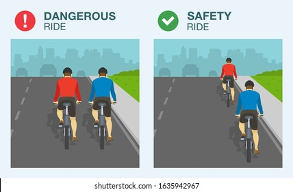 Dangerous and safety bicycle ride on road. Single file and two abreast riding. Flat vector illustration.