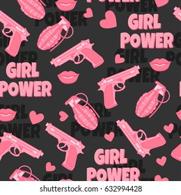 Dangerous seamless pattern with gun, pomegranate, lips and hearts. Feminist background. Girl power. Love.