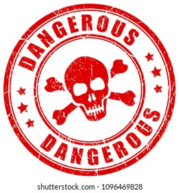 Dangerous substance red vector stamp illustration isolated on white background