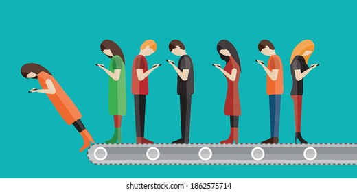 Dangerous technology on vector background. concept factory cellular problem. people on phone. Distracted men or women on cellphone. addicted to mobile. addiction or obsessed in digital life cover page