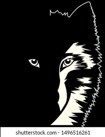 dangerous wild wolf in the dark leader, black and white drawing, vector illustration
