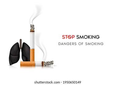 Dangers of smoking. Smoking effect on human lung. Stop smoking, World No Tobacco Day. Illustration on white background.