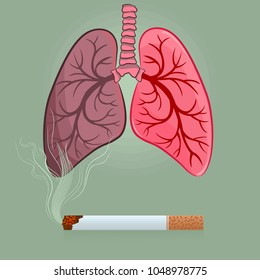 Dangers of smoking, nicotine addiction harmful to respiratory system and lungs.