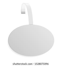 Dangler mockup. Store sale wobbler. Plastic point tag vector design. Round promo sticker for supermarket shelf. Circular white pvc hanging ad for branding. Pop oval banner holder for retail shelves