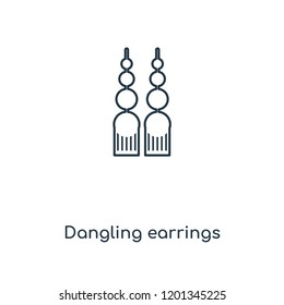 Dangling earrings concept line icon. Linear Dangling earrings concept outline symbol design. This simple element illustration can be used for web and mobile UI/UX.