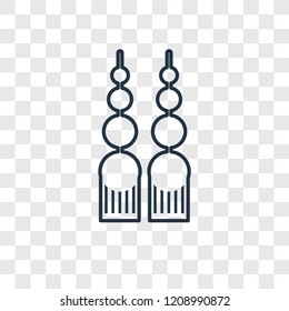 Dangling earrings concept vector linear icon isolated on transparent background, Dangling earrings concept transparency concept in outline style