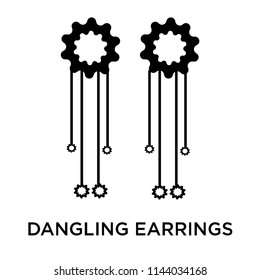 Dangling earrings icon vector isolated on white background for your web and mobile app design, Dangling earrings logo concept