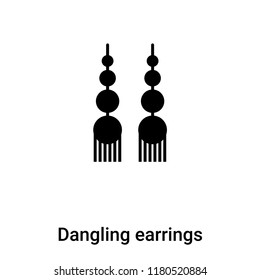 Dangling earrings icon  vector isolated on white background, logo concept of Dangling earrings  sign on transparent background, filled black symbol