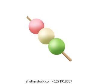 Dango icon. Japanese Dango dessert with 3 different colors. Dango vector illustration on white transparent background.