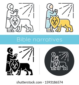 Daniel in lion den Bible story icon. Legendary hero praying. Religious legend. Christian religion. Biblical narrative. Glyph, chalk, linear and color styles. Isolated vector illustrations