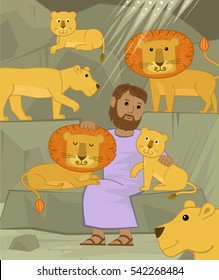 Daniel With Lions - Cute illustration of Daniel in the lions den. Eps10