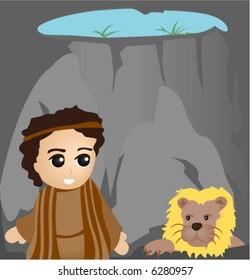 Daniel in the Lions Den - Vector