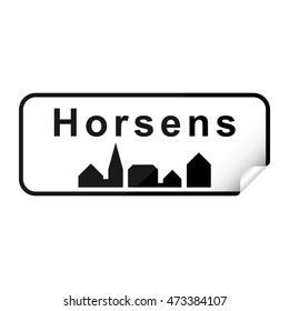 Danish city sign sticker horsens with curly corner.