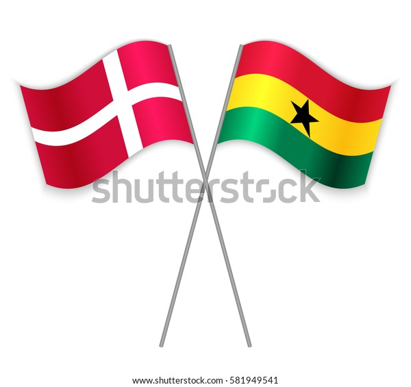 Danish and Ghanaian crossed flags. Denmark combined with Ghana isolated on white. Language learning, international business or travel concept.