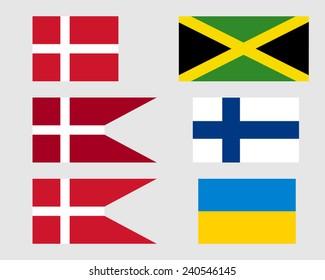 Danish, Jamaican, Finnish and Ukrainian flags.