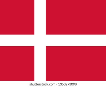 Danish or Kingdom of Denmark official flag symbol icon flat vector