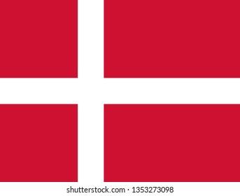 Danish or Kingdom of Denmark official flag symbol icon flat vector