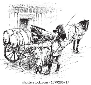 Danish Milkman is one of the best dairy countries of the world, vintage line drawing or engraving illustration.