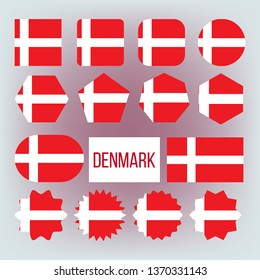 Danish National Colors, Insignia Vector Icons Set. Danish State Flag, European Country Official Symbolics. Red And White Patriotic Banner, Dannebrog. Denmark Traditional Emblem Flat Illustration