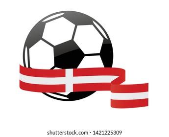 Danish national flag football icon . Danish football championship banner. Simple vector Danish flag
